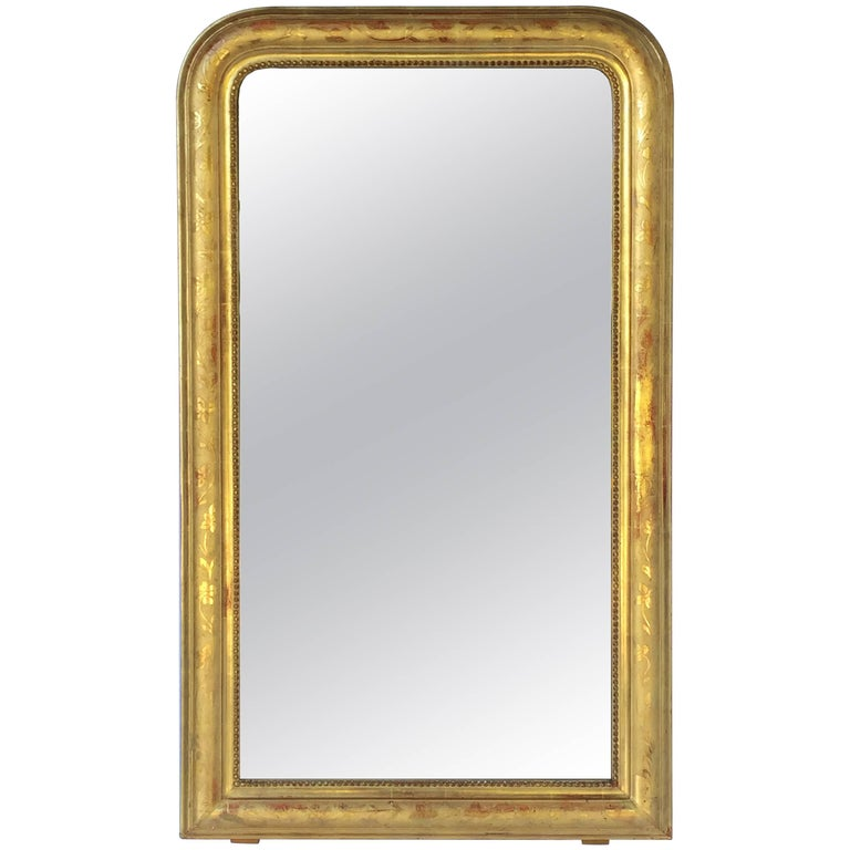 Large Louis Phillipe Arch Top Gilt Mirror (H 50 1/2 x W 29 1/2)
