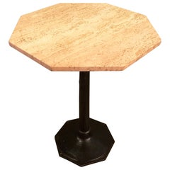 Octagonal Travertine and Cast Iron Pedestal Bistro Table