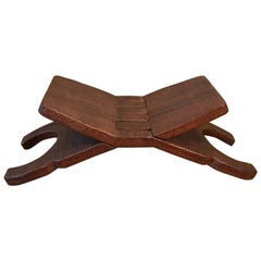 Hand-Carved Mahogany Folding Book Cradle