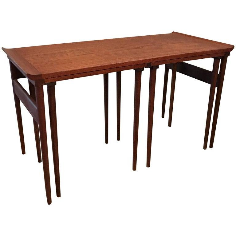 Trio of Danish Modern Walnut Nesting Tables