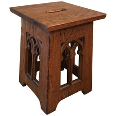 Gothic Carved Oak Cathedral Window Detail Church Stool