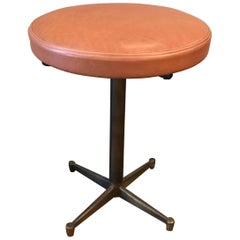 French Mid-Century Modern Leather and Bronze Swivel Vanity Stool