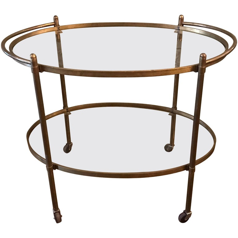 Mid-Century Modern Two-Tier Brass and Glass Bar Cart