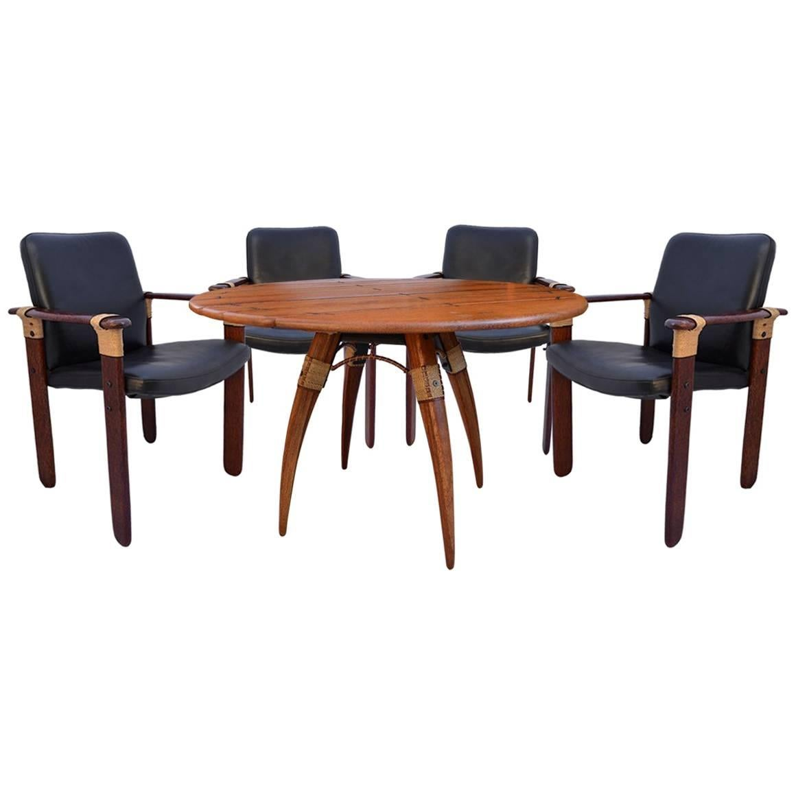 Pacific Green Round Dining Table With Five Matching Chairs