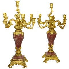 Pair of French 19th Century Louis XV Style Gilt-Bronze & Rouge Royal Candelabra