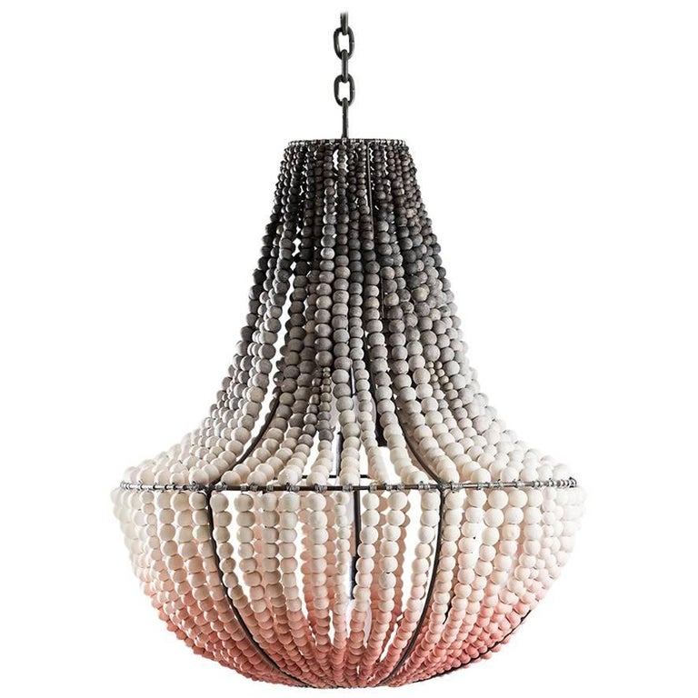 Klaylife Lim Blush Pink Ombre Large Handmade Clay Beaded Chandelier For
