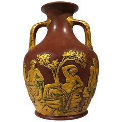 Redware 'Portland Vase' with Gilt Lacquer Finish, Schiller, circa 1860