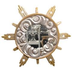 Large Italian Gilded Sunburst Mirror, Diamond Cutouts and Cloud Motifs, 19th C.