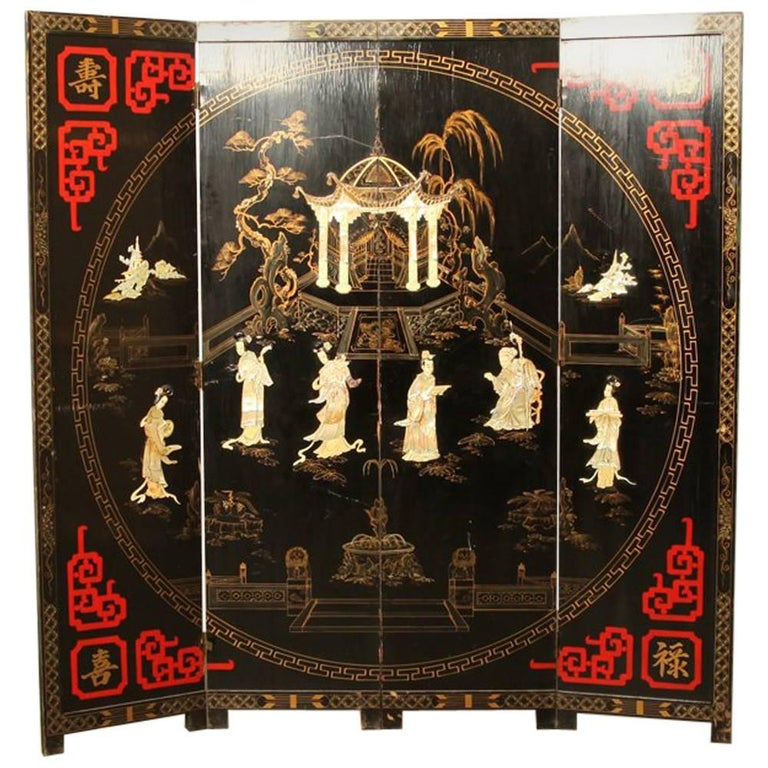 Large Chinese Room Divider or Folding Screen 1