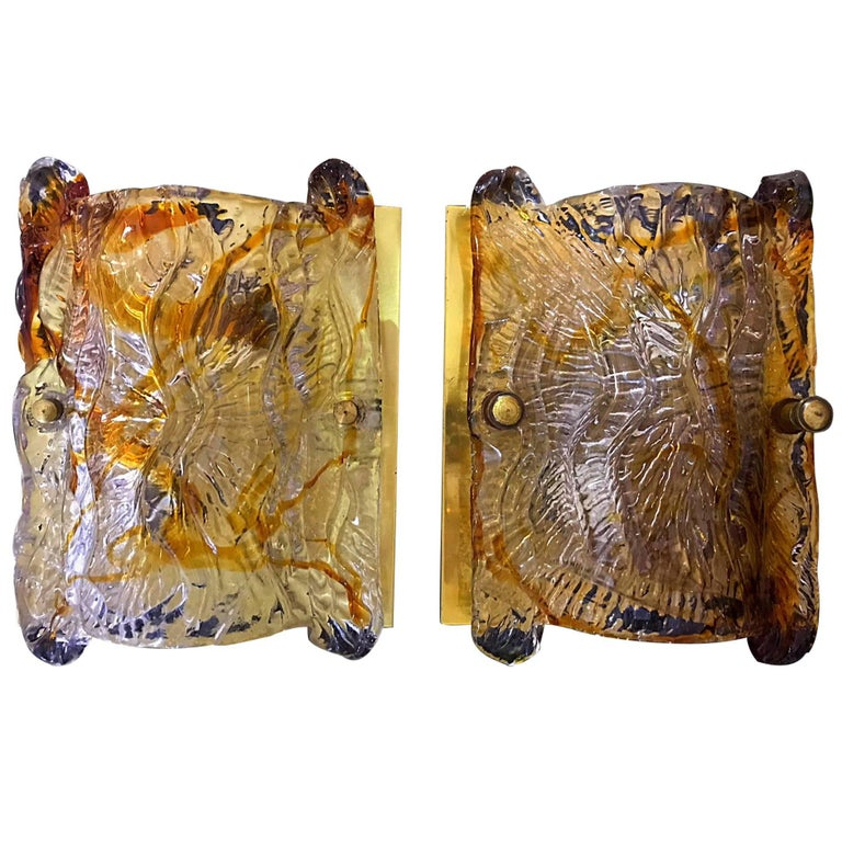 Mazzega murano pair of sconce glass Italian handblown ,1960