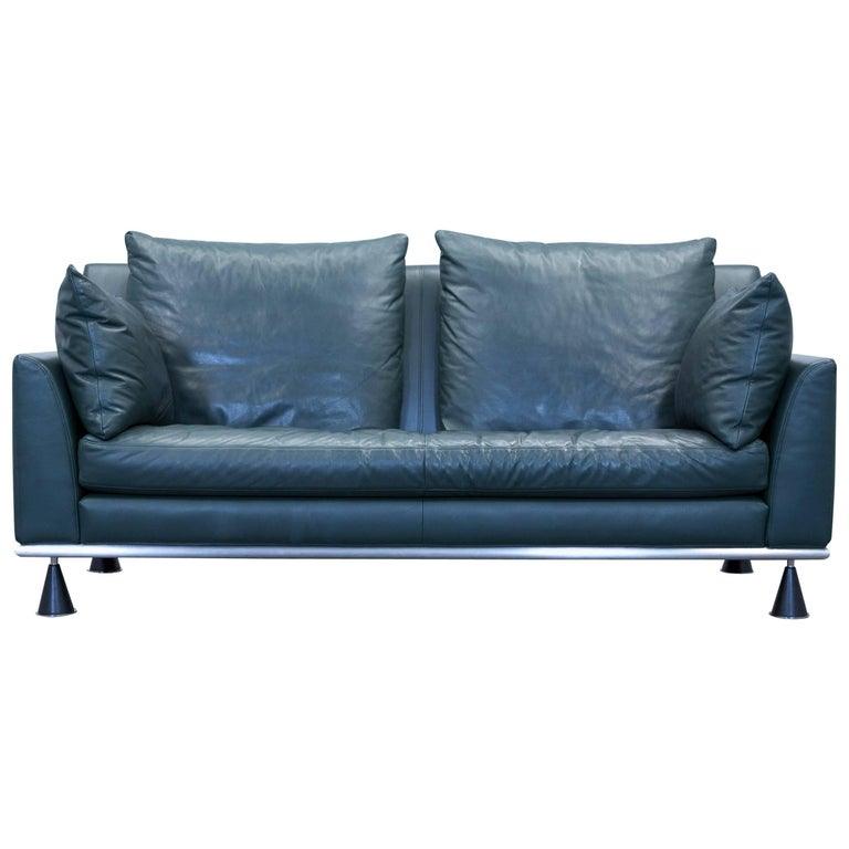 Rolf Benz Designer Sofa Leather Green Two Seat Couch Modern