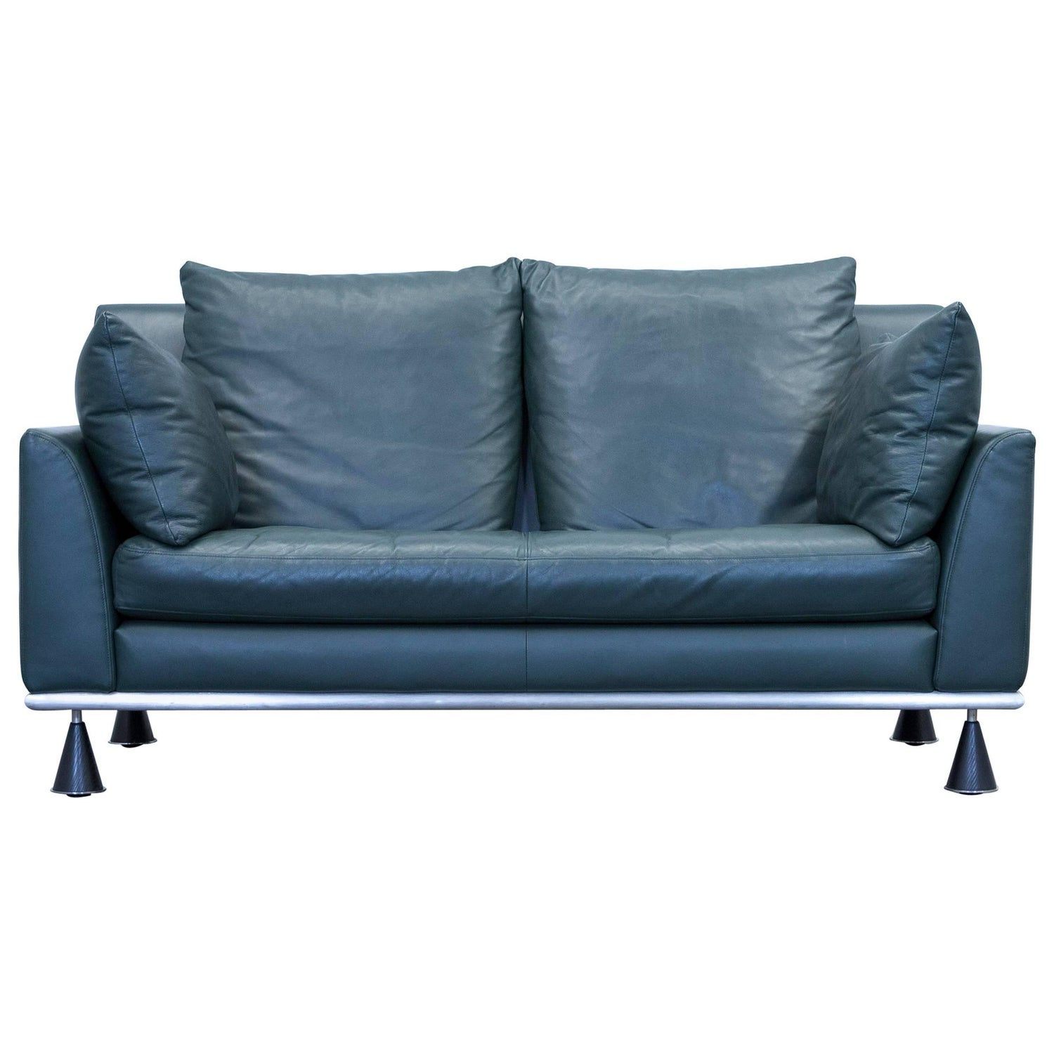 Rolf Benz Designer Sofa Leather Green Two Seat Couch Modern at 1stdibs