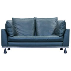 Rolf Benz Designer Sofa Leather Green Two-Seat Couch Modern