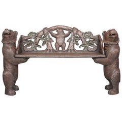 19th Century Black Forest Bear Hall Bench