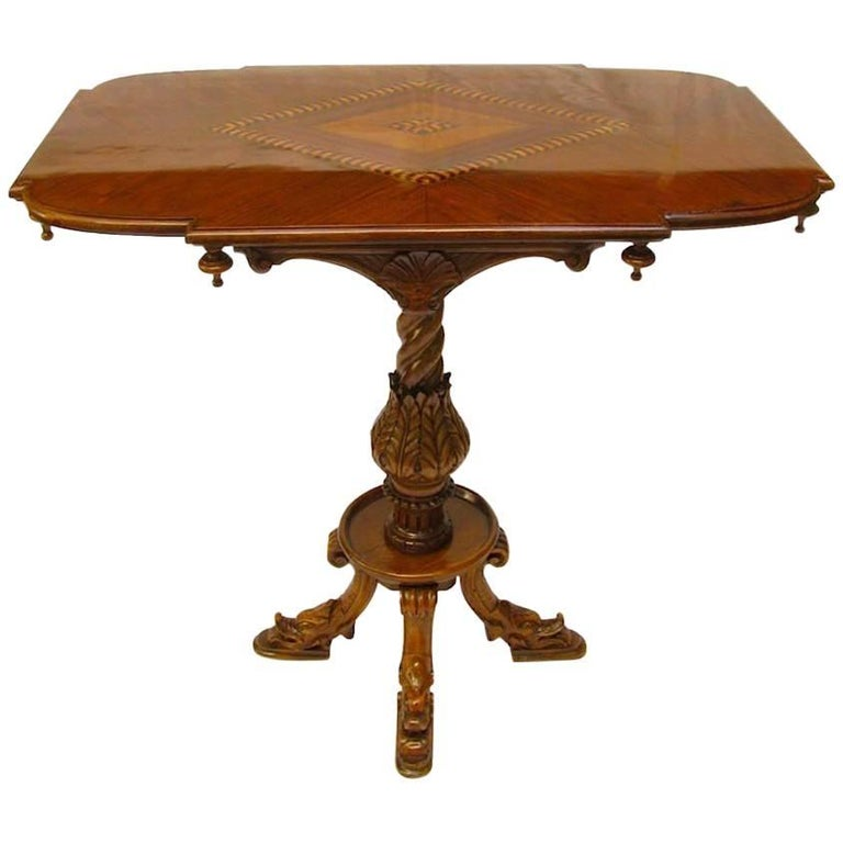 Italian Inlaid and Carved Walnut Centre Table Early 20th Century Gothic Revival