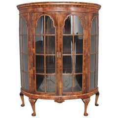 Early 20th Century Walnut Bowfronted Display Cabinet