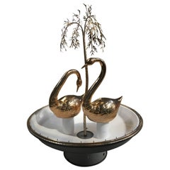 Italian Fountain with Gilt Swans and Weeping Willow Decorations from 1960s