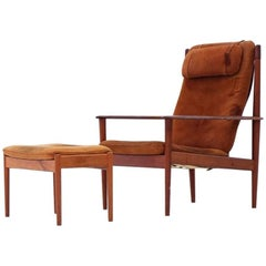 Grete Jalk for Poul Jeppesen PJ56 Danish Leather Lounge Armchair and Ottoman