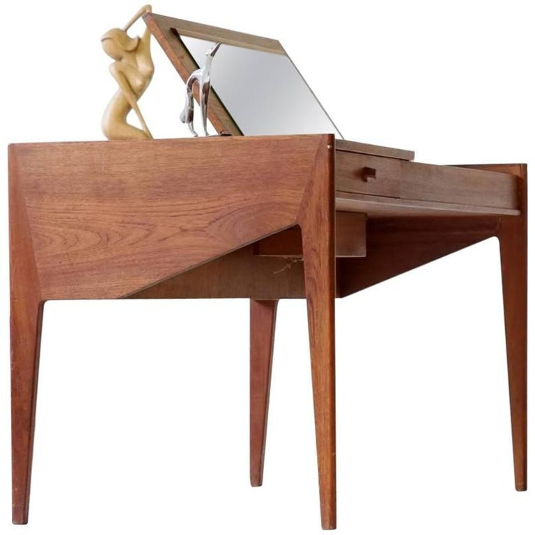 Lady Desk Teak Writing Table with Function Midcentury Danish, 1950s