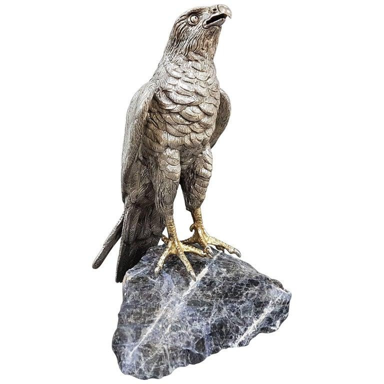 20th Century Italian Sterling Silver Hawk on a Sodalite Stone For Sale