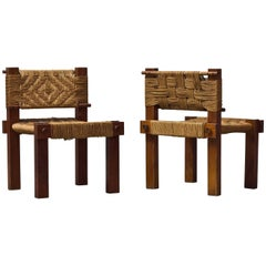 Pair of Wood and Rope Chairs by Adoux and Minet