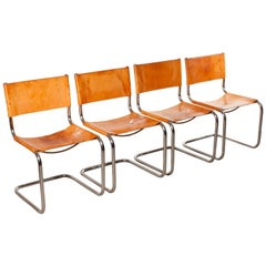 1970s, Set of Four Saddle Leather Dining Chairs by Mart Stam for Fasem
