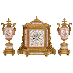 Gilt Bronze and Pink Sevres Style Porcelain Antique Clock Set