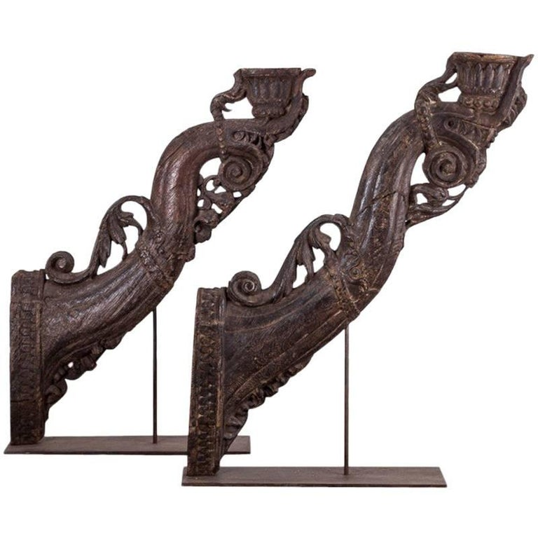 Pair of Oversized Carved Brackets