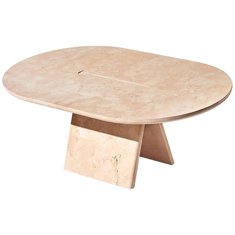 Contemporary Lásta Coffee Table Or Side Table Table Low in Pink Marble For Sale