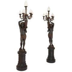 19th Century Pair of Egyptian Revival Figural Candelabra by Antoine Durenne