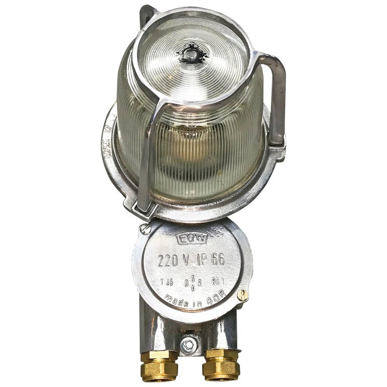 1970s East German Eow Aluminium Industrial Wall Light with Diffuser Glass Dome