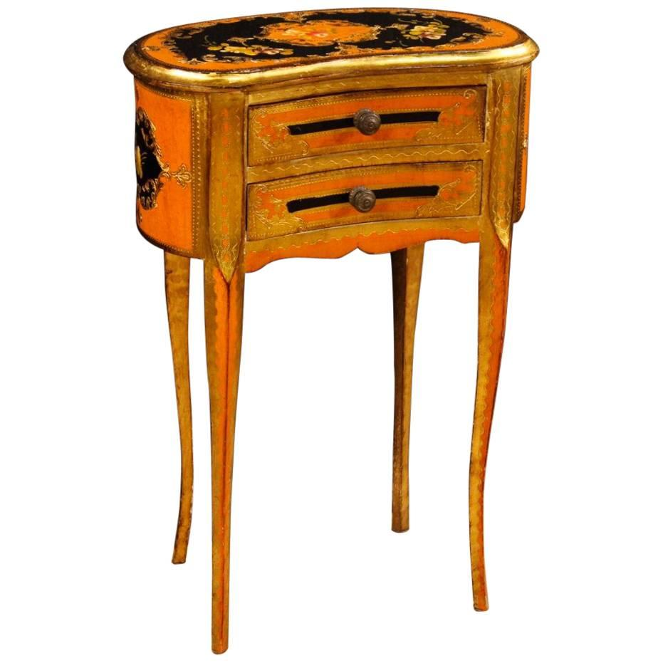 20th Century Lacquered, Painted And Gilt Side Table