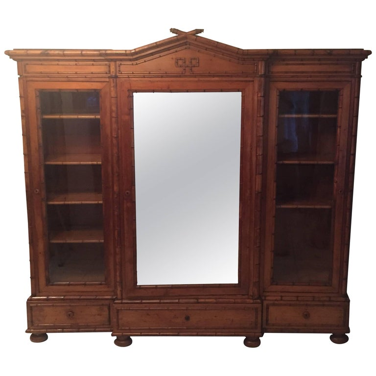 Late 19th Century French Provincial Triple Faux Bamboo Bookcase For Sale