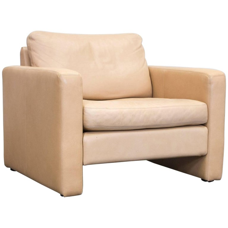 Cor Designer Armchair Anilin Leather Beige One Seat Couch Modern