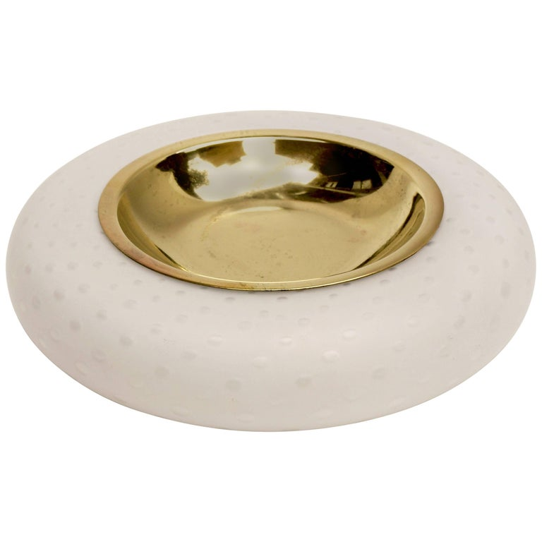 Tommaso Barbi Brass and White Murano Glass Dish
