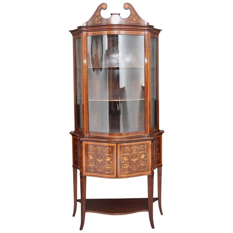 19th Century Mahogany Display Cabinet by Edwards & Roberts