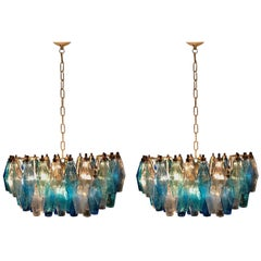 Pair of Murano Poliedri Chandelier in the Style of Carlo Scarpa
