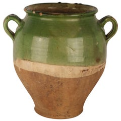 Rare Green Confit Pot from the South of France, 19th Century