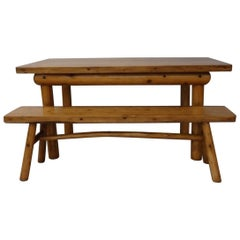 Knotty Pine Rustic Adirondack cabin , Ranch or Cottage Dining Table with Benches