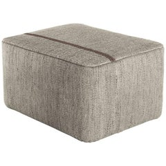 Mia Stone Hand-Loomed Wool Dhurrie Pouf by Andreu Carulla in Stock