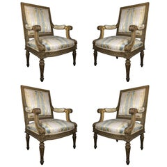 Set of Four Gilded Louis XVI Style Armchairs