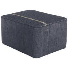 Mia Navy Hand-Loomed Wool Dhurrie Pouf by Andreu Carulla in Stock