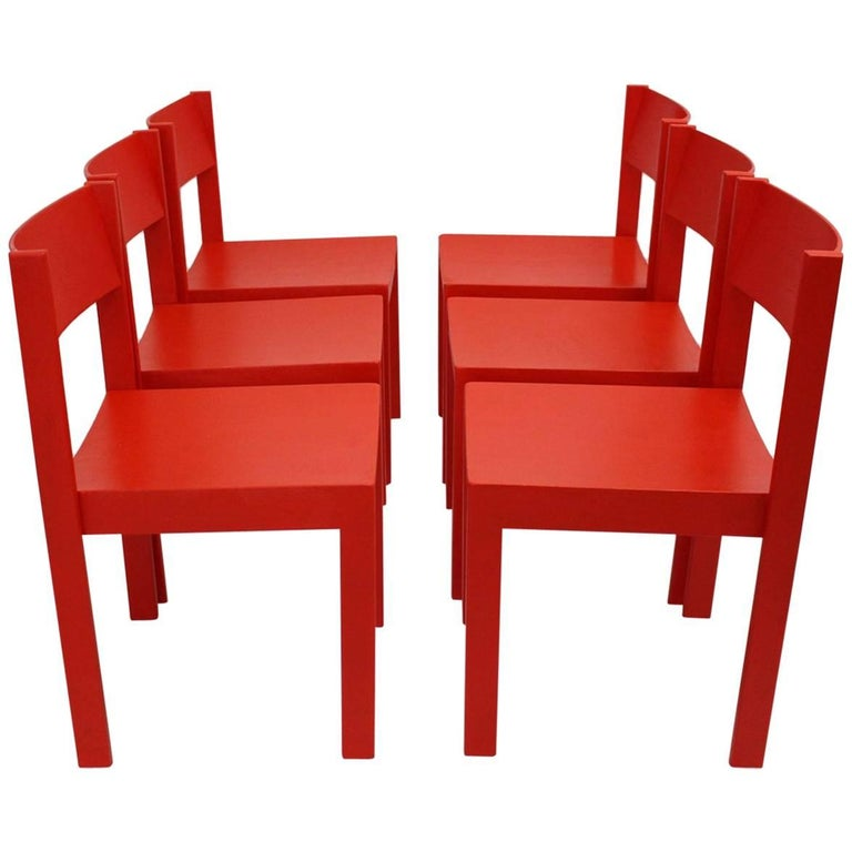 Mid Century Modern Red Carl Aubock Dining Room Chairs 1956 Vienna For Sale