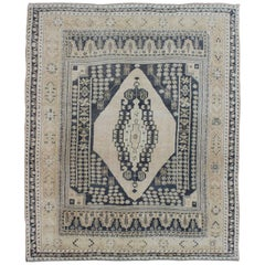 Layered Medallion Turkish Vintage Oushak Rug in Charcoal Gray and Cream Ivory