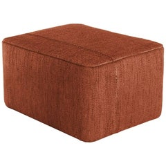 Mia Brick Hand-Loomed Wool Dhurrie Pouf by Andreu Carulla in Stock