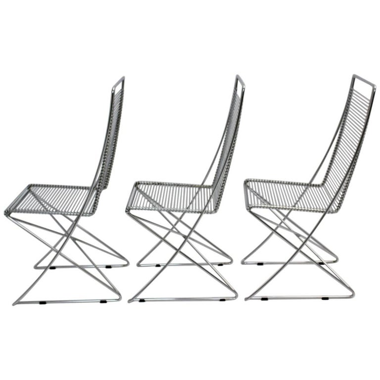 Chromed Steel Wire Chairs Kreuzschwinger by Till Behrens, 1983, Germany