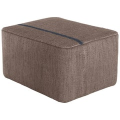 Mia Brown Hand-Loomed Wool Dhurrie Pouf by Andreu Carulla