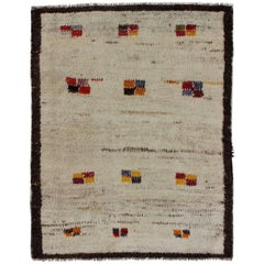Minimalist Antique Turkish Tulu Rug with Small Geometric Shapes in Multi-Colors