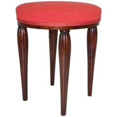 Red Walnut Stool Vienna Sezession by Otto Prutscher Attributed, circa 1914