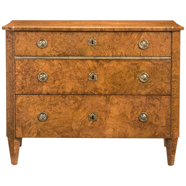 Swedish Neoclassical Brass Mounted Burlwood Commode